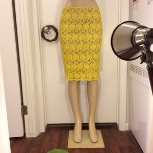 Talbots Yellow Floral Embroider Skirt 4